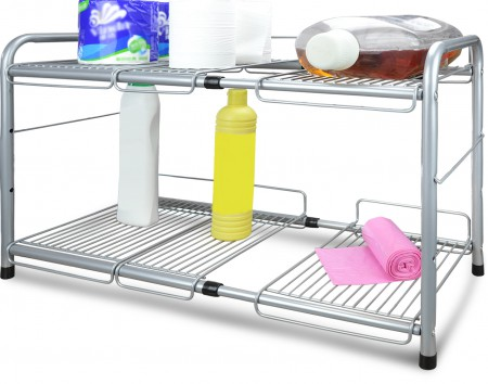 Surpahs Under Sink 2 Tier Expandable Cabinet Organizer Storage Shelf